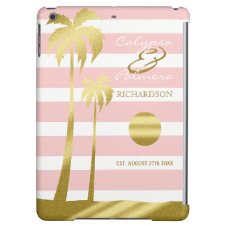 Beach Wedding Gold Glitter Palm Trees Pink Stripes Cover For iPad Air