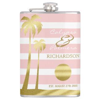 Beach Wedding Gold Glitter Palm Trees Pink Stripes Flasks