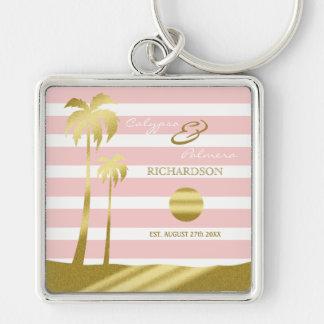Beach Wedding Gold Glitter Palm Trees Pink Stripes Keychain