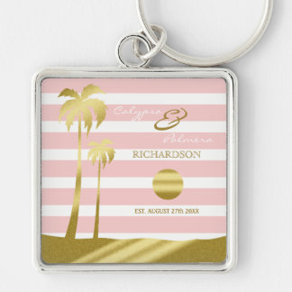 Beach Wedding Gold Glitter Palm Trees Pink Stripes Silver-Colored Square Keychain