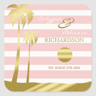 Beach Wedding Gold Glitter Palm Trees Pink Stripes Square Sticker