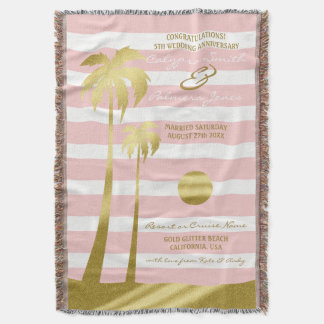 Beach Wedding Gold Glitter Palm Trees Pink Stripes Throw Blanket