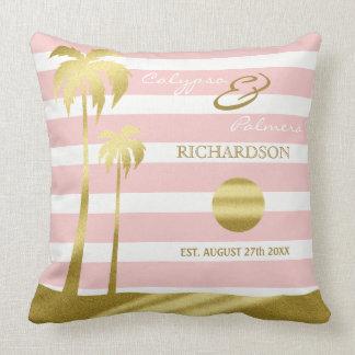 Beach Wedding Gold Glitter Palm Trees Pink Stripes Throw Pillow