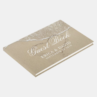 Beach Wedding Heart in the Sand Elegant Guest Book
