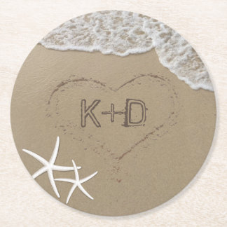 Beach Wedding Heart in the Sand Starfish Summer Round Paper Coaster