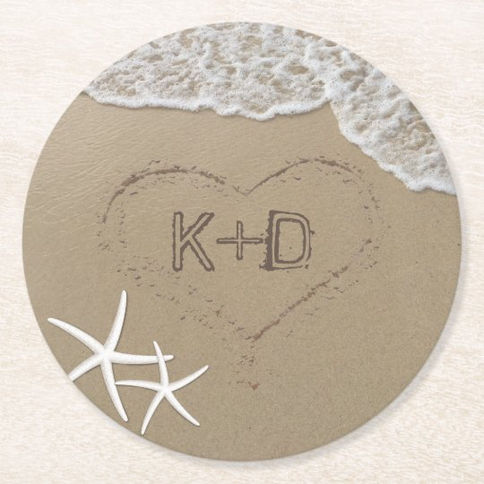 Beach Wedding Heart in the Sand Starfish Summer Round Paper Coaster