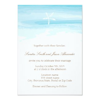 Beach Wedding Invitation ı Starfish & Sea
