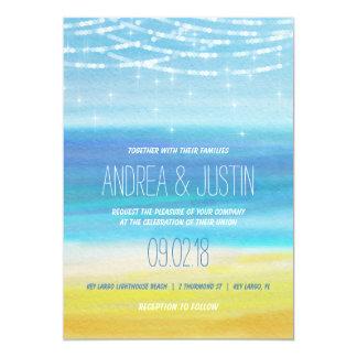 Beach Wedding Invitation Watercolor with Lights