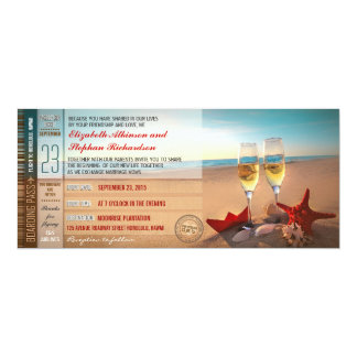 beach wedding invitations - boarding pass tickets
