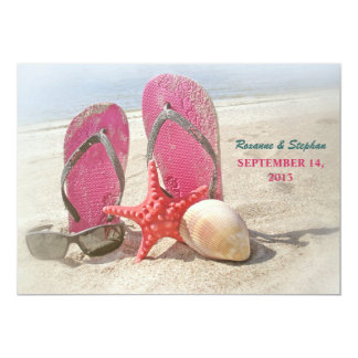 "beach wedding invitations with red starfish 5"" x 7"" invitation card"