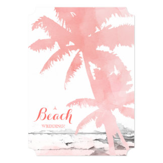 Beach Wedding Invite Coral Palm Trees Wood