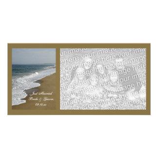 Beach Wedding Just Married Card