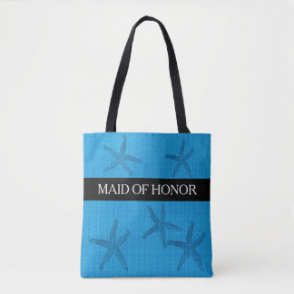 Beach wedding Maid of Honor ocean blue burlap Tote Bag