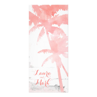 Beach Wedding Menu Card Coral Palm Trees Wood