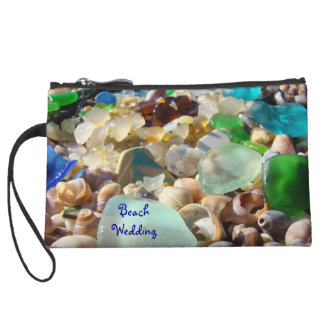 Beach Wedding Mini Clutch Purse Seaglass Shells