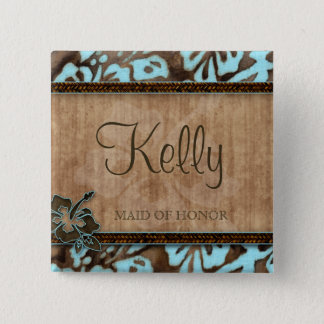 Beach Wedding Name Tag Button Luau Blue Brown