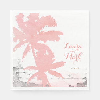 Beach Wedding Napkins Coral Palm Trees Wood Paper Napkin