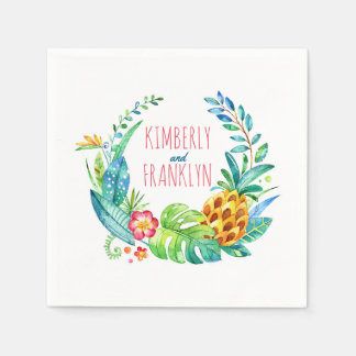 beach wedding palms and pineapple watercolor paper napkins
