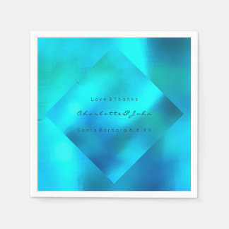 Beach Wedding Party Ocean Blue Turquoise Pearly Paper Napkin