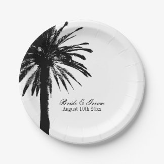Beach wedding party plates with exotic palm tree 7 inch paper plate