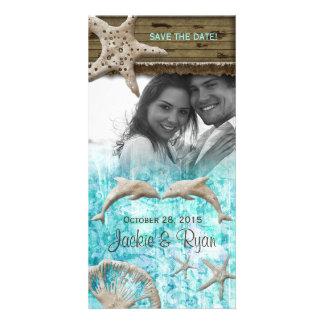 Beach Wedding Photocard Dolphins Blue Shells Photo Card