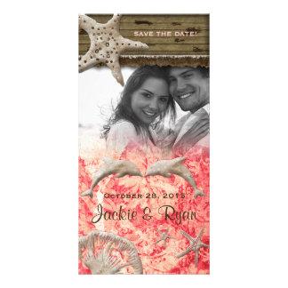 Beach Wedding Photocard Dolphins Coral Shells Card