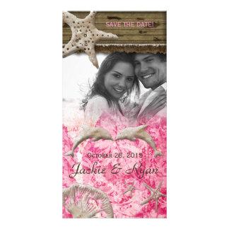 Beach Wedding Photocard Dolphins Pink Shells Photo Greeting Card