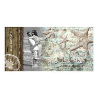 Beach Wedding Photocard Seashell Beige Wood Card
