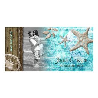 Beach Wedding Photocard Seashell Blue Wood Photo Card Template