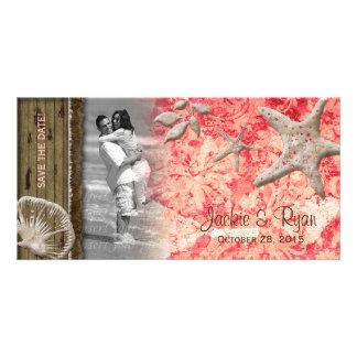 Beach Wedding Photocard Seashell Coral Wood Custom Photo Card