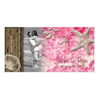 Beach Wedding Photocard Seashell Pink Wood Customized Photo Card