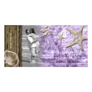 Beach Wedding Photocard Seashell Purple Wood Photo Card Template