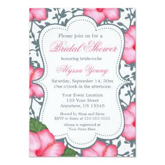 Beach Wedding Pink Hibiscus Bridal Shower Invite
