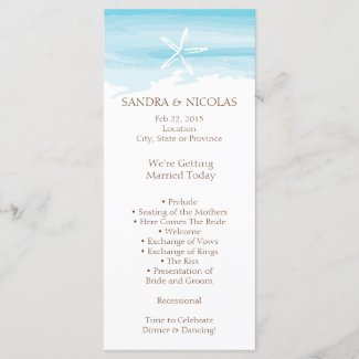 Beach Wedding Program rack card