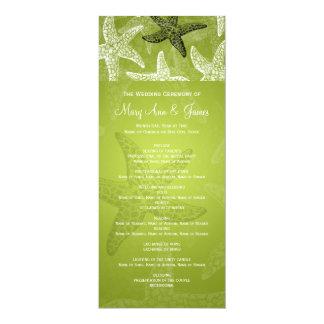 "Beach Wedding Program Starfish Lime Green 4"" X 9.25"" Invitation Card"