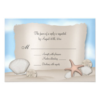 Beach Wedding Reply Cards Personalized Invitation
