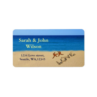 beach wedding,return address label