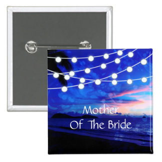 Beach Wedding Romance Glowing Lights 2 Inch Square Button