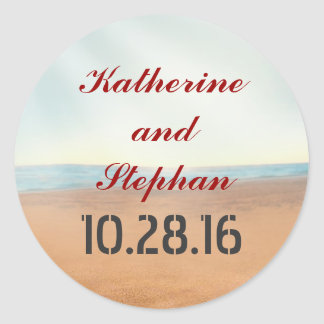 beach wedding round sticker