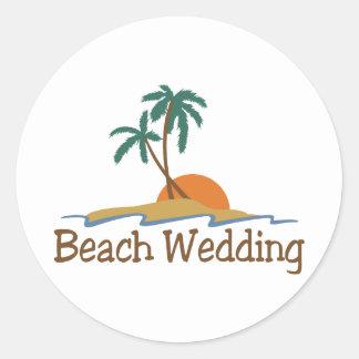 Beach Wedding Round Sticker