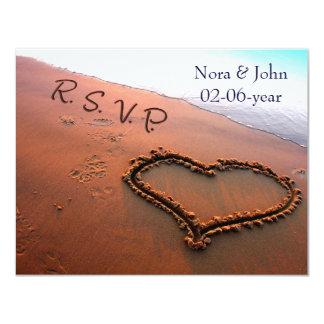 beach wedding RSVP 4.25x5.5 Paper Invitation Card