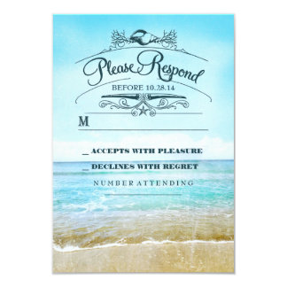 "Beach wedding RSVP card 3.5"" X 5"" Invitation Card"