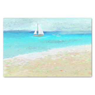 Beach Wedding- Sail boat and tropical waters Tissue Paper