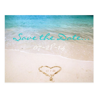 Beach Wedding Save the Date Invitation Postcard