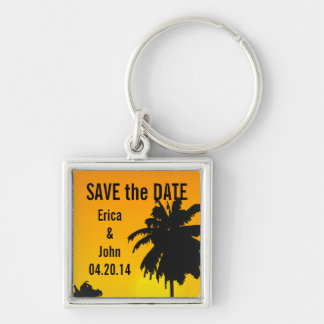 Beach Wedding Save the Date Keychains Palm Trees