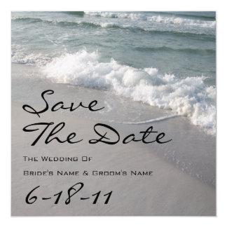 Beach Wedding Save The Date - Ocean Waves & Sand Card