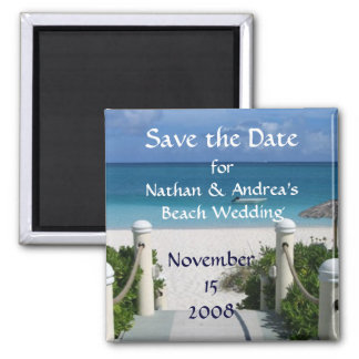 "Beach Wedding ""Save the Date"" Square Magnet"