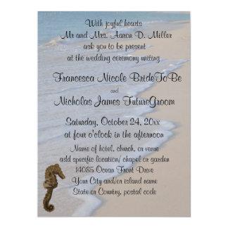 "Beach Wedding Seahorse 6.5"" X 8.75"" Invitation Card"