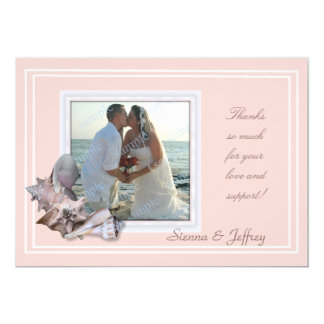 "Beach Wedding Seashell Photo Frame Thank You 5"" X 7"" Invitation Card"