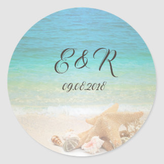 Beach  Wedding Seashells Classic Round Sticker